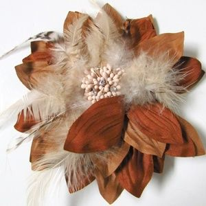 Chico's Feather Flower Magnetic Brooch